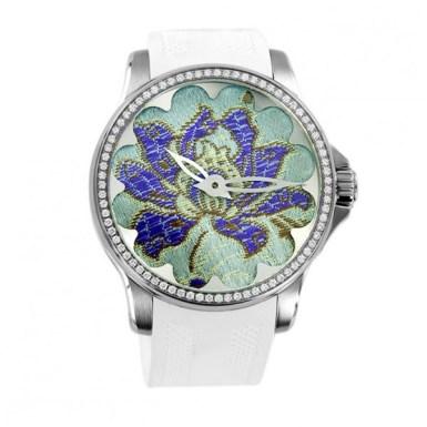 Samarkand sertie, véritable motif en soie inséré dans le mécanisme OX Watch