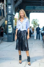 daytime-sequins-pleated-sequined-skirt-mens-oxford-shirt-nyfw-street-style-hbz