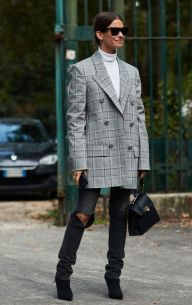 Le-Fashion-Blog-Sunglasses-White-Turtleneck-Oversized-Plaid-Blazer-Distressed-Black-Jeans-Black-Booties-Via-The-Fashion-Spot