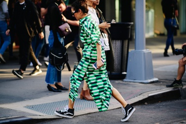 nyfw-spring-2018-street-style-green-dress-vans